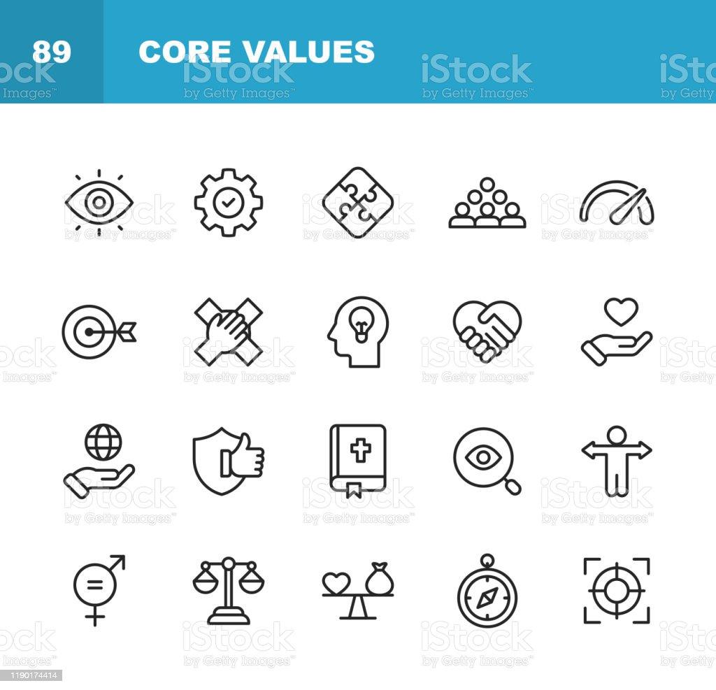 Kernwerte-Symbole. Bearbeitbarer Strich. Pixel perfekt. Für Mobile und Web. Enthält Symbole wie Verantwortung, Vision, Geschäftsethik, Recht, Moral, Soziale Fragen, Teamarbeit, Wachstum, Vertrauen, Qualität. - Lizenzfrei Anleitung - Konzepte Vektorgrafik