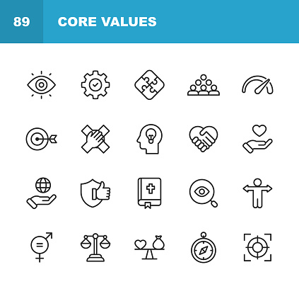 Core Values Icons. Editable Stroke. Pixel Perfect. For Mobile and Web. Contains such icons as Responsibility, Vision, Business Ethics, Law, Morality, Social Issues, Teamwork, Growth, Trust, Quality.