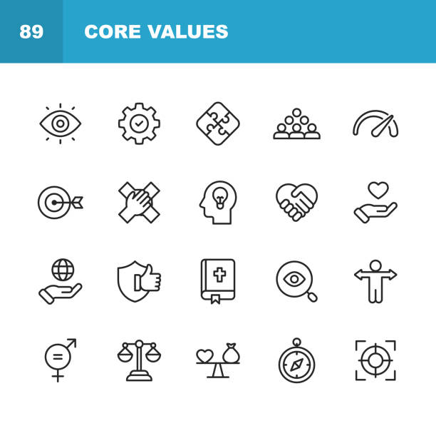 illustrazioni stock, clip art, cartoni animati e icone di tendenza di core values icons. editable stroke. pixel perfect. for mobile and web. contains such icons as responsibility, vision, business ethics, law, morality, social issues, teamwork, growth, trust, quality. - onestà