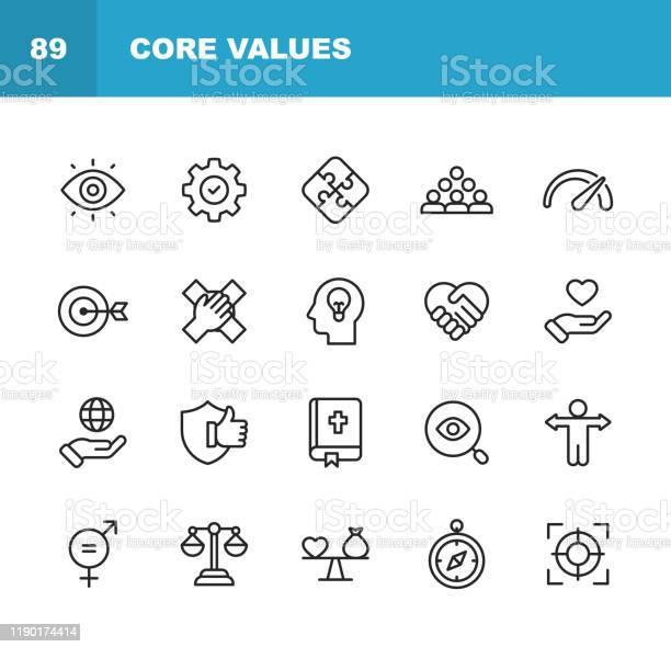 Kernwertesymbole Bearbeitbarer Strich Pixel Perfekt Für Mobile Und Web Enthält Symbole Wie Verantwortung Vision Geschäftsethik Recht Moral Soziale Fragen Teamarbeit Wachstum Vertrauen Qualität Stock Vektor Art und mehr Bilder von Anleitung - Konzepte