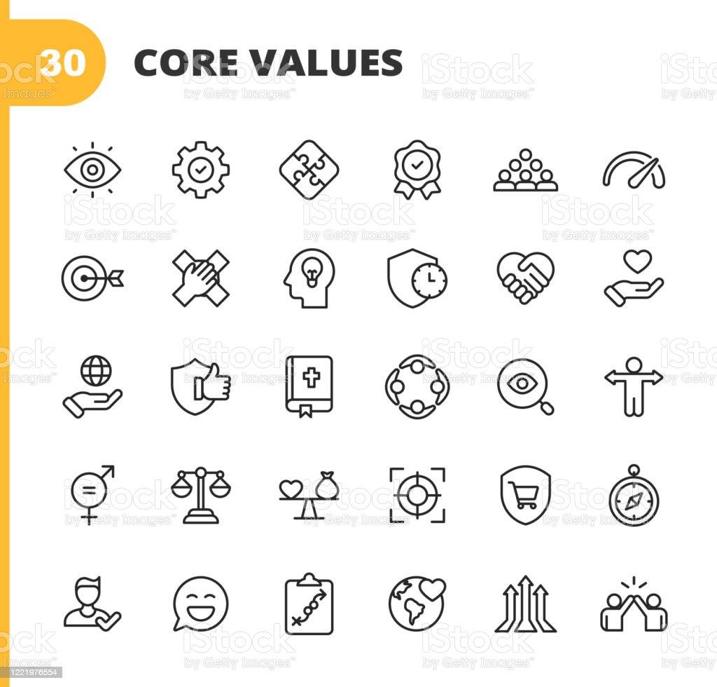 Kernwerte-Symbole. Bearbeitbarer Strich. Pixel perfekt. Für Mobile und Web. Enthält Symbole wie Verantwortung, Vision, Geschäftsethik, Recht, Moral, Soziale Fragen, Teamarbeit, Wachstum, Vertrauen, Qualität, Innovation, Teamwork, Zuverlässigkeit, Näc - Lizenzfrei Anleitung - Konzepte Vektorgrafik