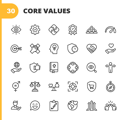 Core Values Icons. Editable Stroke. Pixel Perfect. For Mobile and Web. Contains such icons as Responsibility, Vision, Business Ethics, Law, Morality, Social Issues, Teamwork, Growth, Trust, Quality, Innovation, Teamwork, Reliability, Charity.