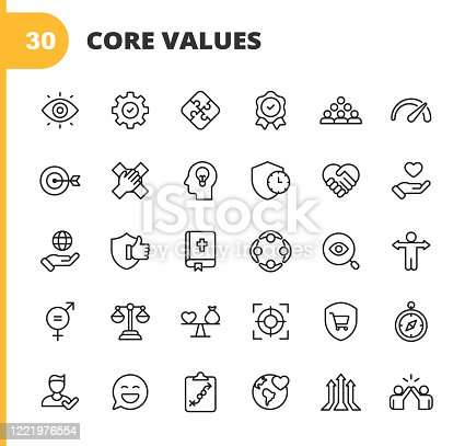 20 Core Values Outline Icons.