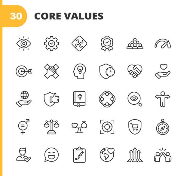kernwerte-symbole. bearbeitbarer strich. pixel perfekt. für mobile und web. enthält symbole wie verantwortung, vision, geschäftsethik, recht, moral, soziale fragen, teamarbeit, wachstum, vertrauen, qualität, innovation, teamwork, zuverlässigkeit, näc - trust stock-grafiken, -clipart, -cartoons und -symbole