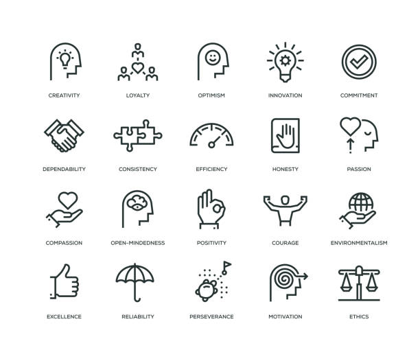 Core Values Icons - Line Series Core Values Icons - Line Series passion stock illustrations