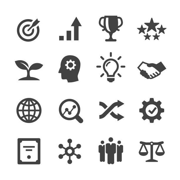 zestaw ikon podstawowych wartości - seria acme - aspiracje stock illustrations