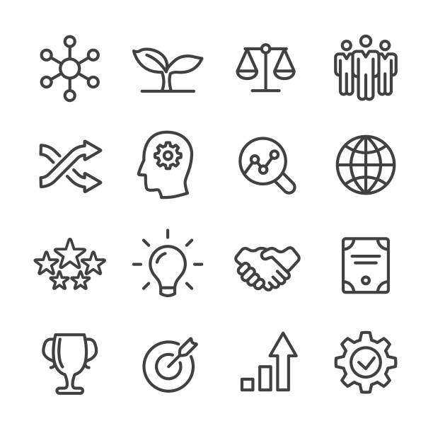 Core Values Icons Set - Line Series Core Values, Business, stability stock illustrations