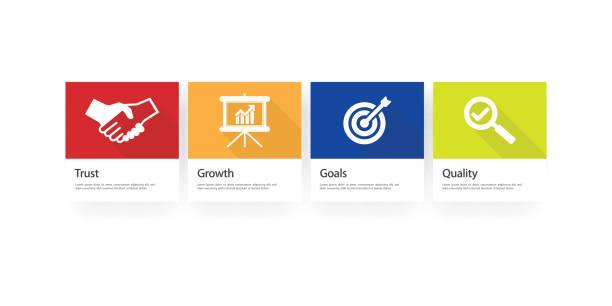 ilustraciones, imágenes clip art, dibujos animados e iconos de stock de base de valores conjunto de iconos infografía - misión