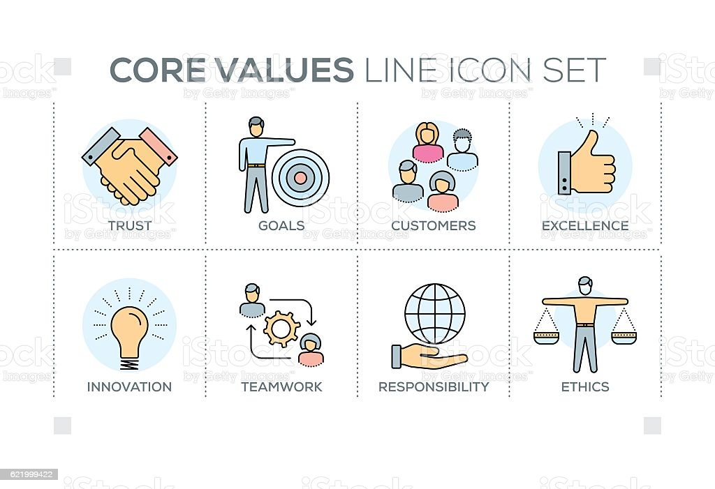 Core Values keywords with line icons vector art illustration