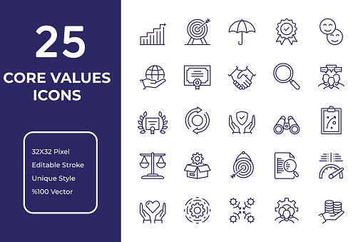 Core Values Line Icon Design