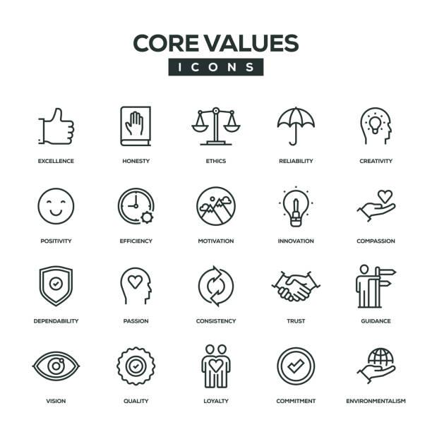 Core Values Line Icon Set Core Values Line Icon Set passion stock illustrations