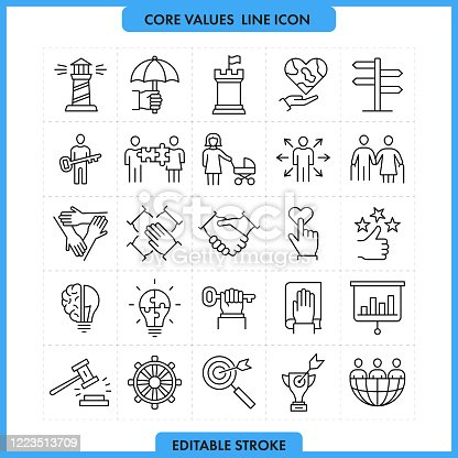 Core Values Line Icon Set.Editable Stroke