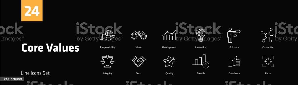 Core Values Line Icons Set
