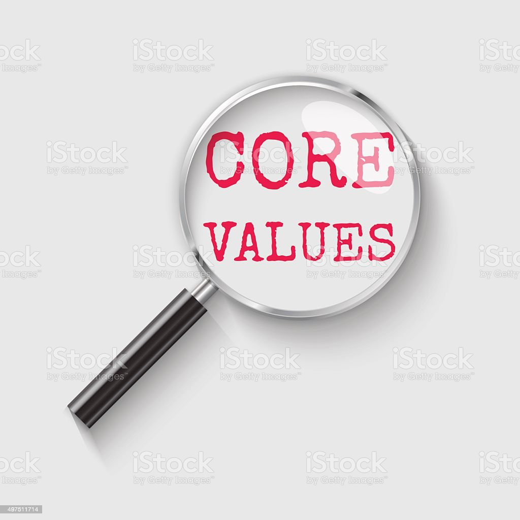Core values Magnifying glass concept illustration vector art illustration