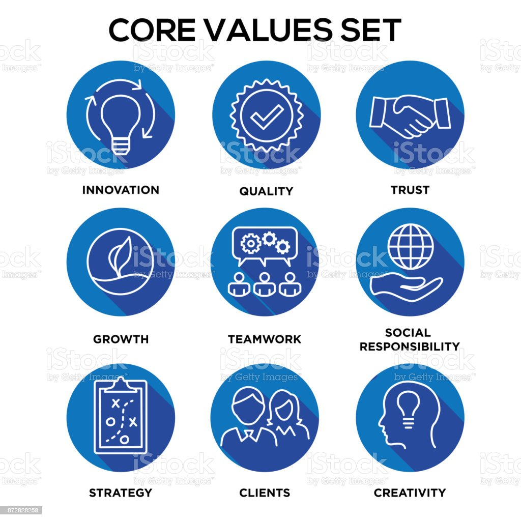 Core values mission integrity value icon set with vision honesty core values mission integrity value icon set with vision honesty passion biocorpaavc Image collections