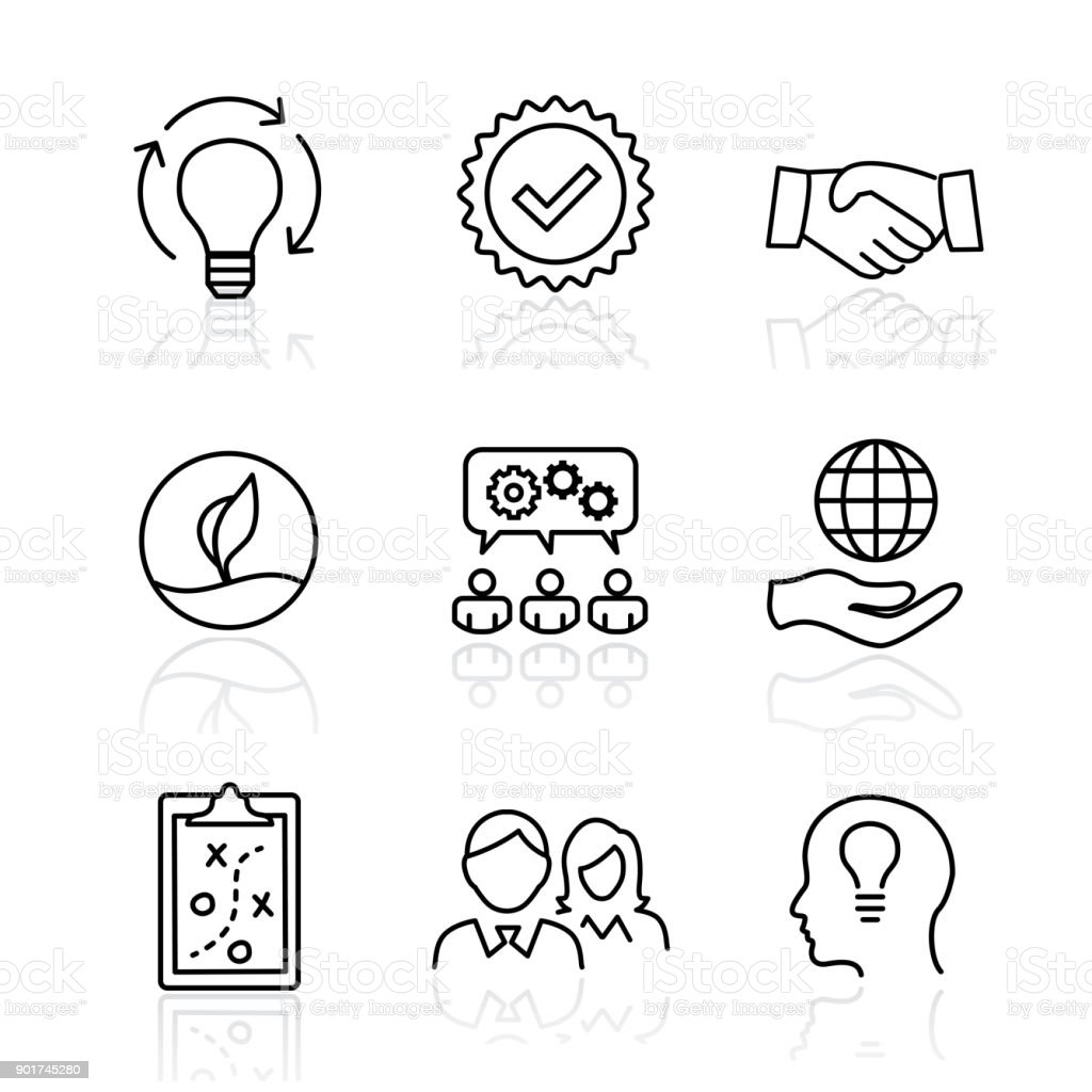 Core Values Mission Integrity Value Icon Set With Vision Honesty