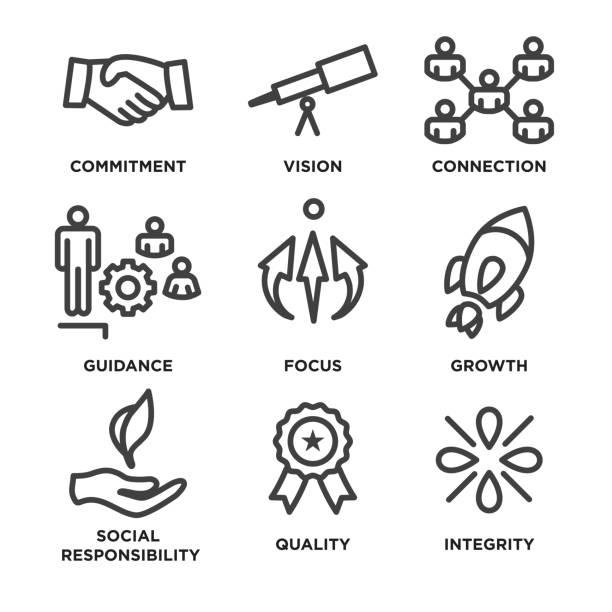 핵심 가치 개요/라인 아이콘 전달 무결성-목적 - 인간 속성 stock illustrations
