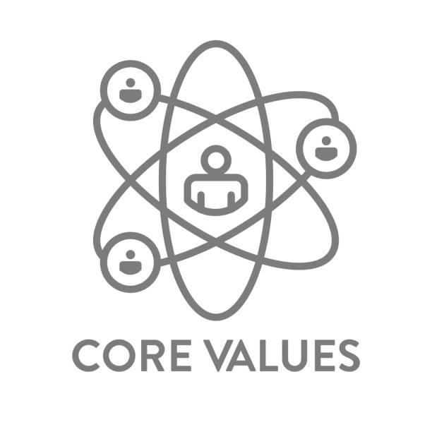 illustrazioni stock, clip art, cartoni animati e icone di tendenza di struttura dei valori principali / icona della linea che trasmette integrità / scopo - onestà