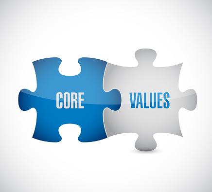 Core values puzzle pieces illustration design