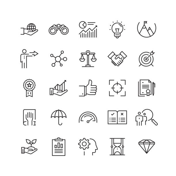 core values related vector line icons - autorytet stock illustrations