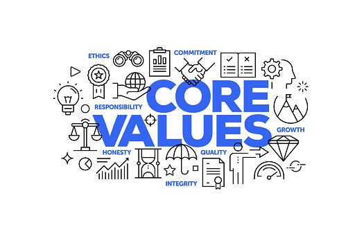 Core Values Related Web Banner Line Style. Modern Linear Design Vector Illustration for Web Banner, Website Header etc.
