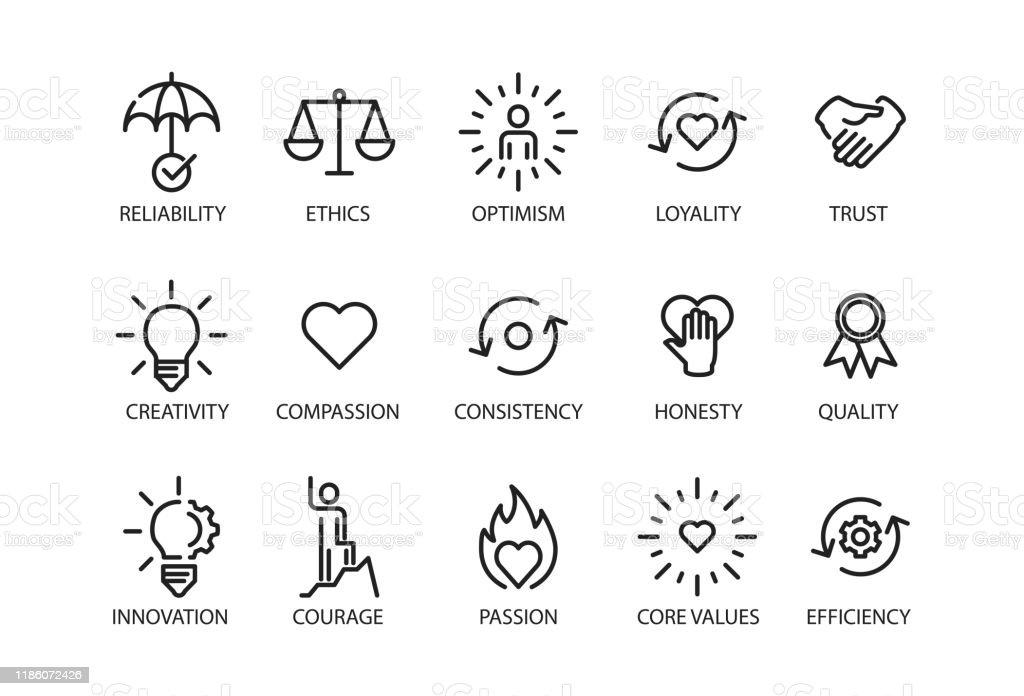 Valores fundamentais definem ícone - Vetor de Aspiração royalty-free