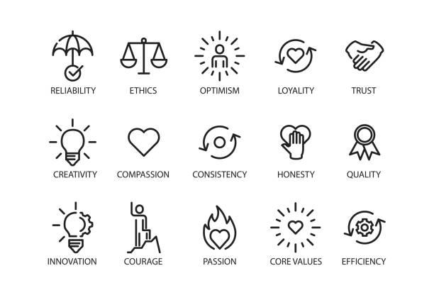 Core values set icon Vector illustration collaboration stock illustrations