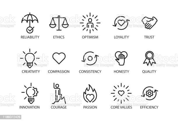 Vetores de Valores Fundamentais Definem Ícone e mais imagens de Aspiração