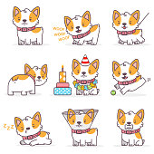 Corgi cute cartoon dog vector character set. Funny little puppies isolated on a white background. Pets illustration in different actions.