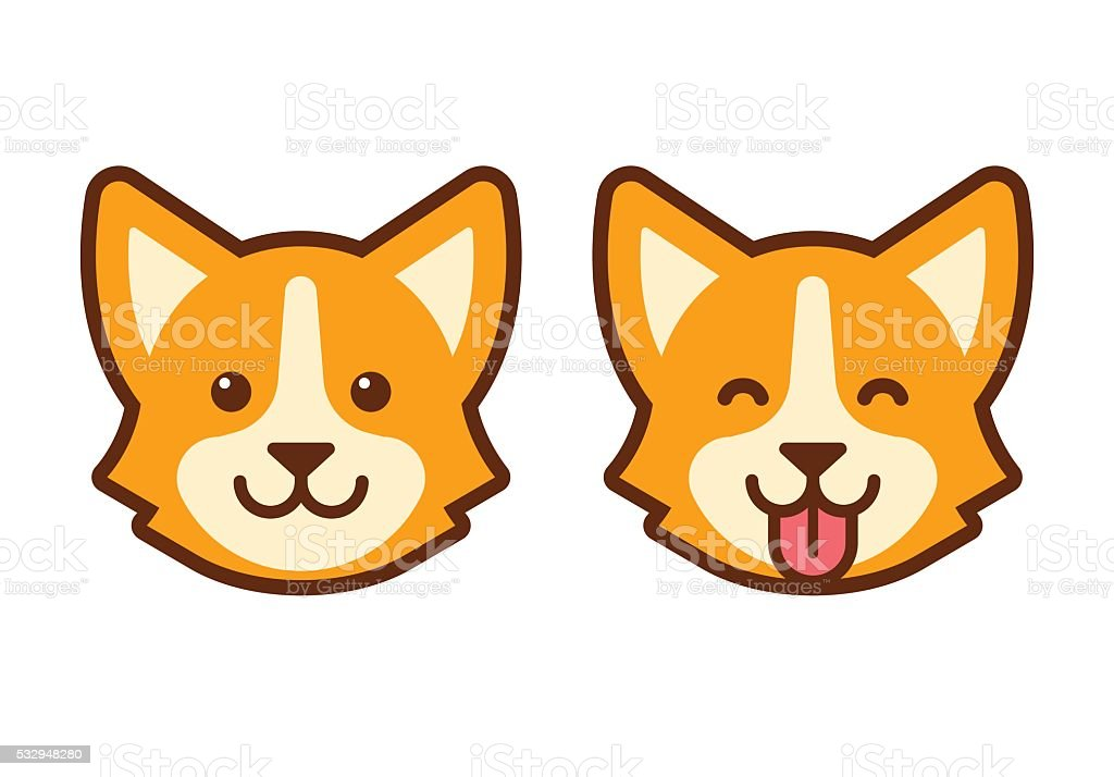 Corgi dog face icon vector art illustration