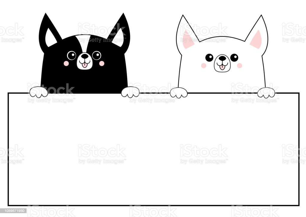 corgi dog happy face head icon set hanging on paper board template
