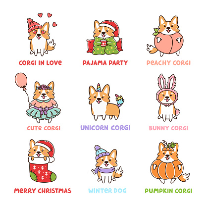Corgi Dog Set with 10 characters, Unicorn corgi, Peachy, Pumpkin, Bunny, in various costumes for Christmas, Easter, Thanksgiving Day, Valentine's Day, Happy Birthday.