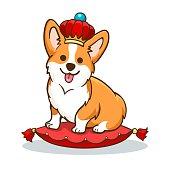 Corgi dog with crown. British princess dog, vector english funny queen animal design, welsh corgi with corona and red pillow