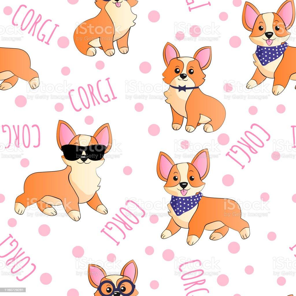 ドットの背景面白い漫画の手でサングラスやスカーフでコーギーはシームレスなパターンを描画します犬の子供たちはテキスタイルギフトラップ壁紙や別のデザインのためのリピ イヌ科のベクターアート素材や画像を多数ご用意 Istock
