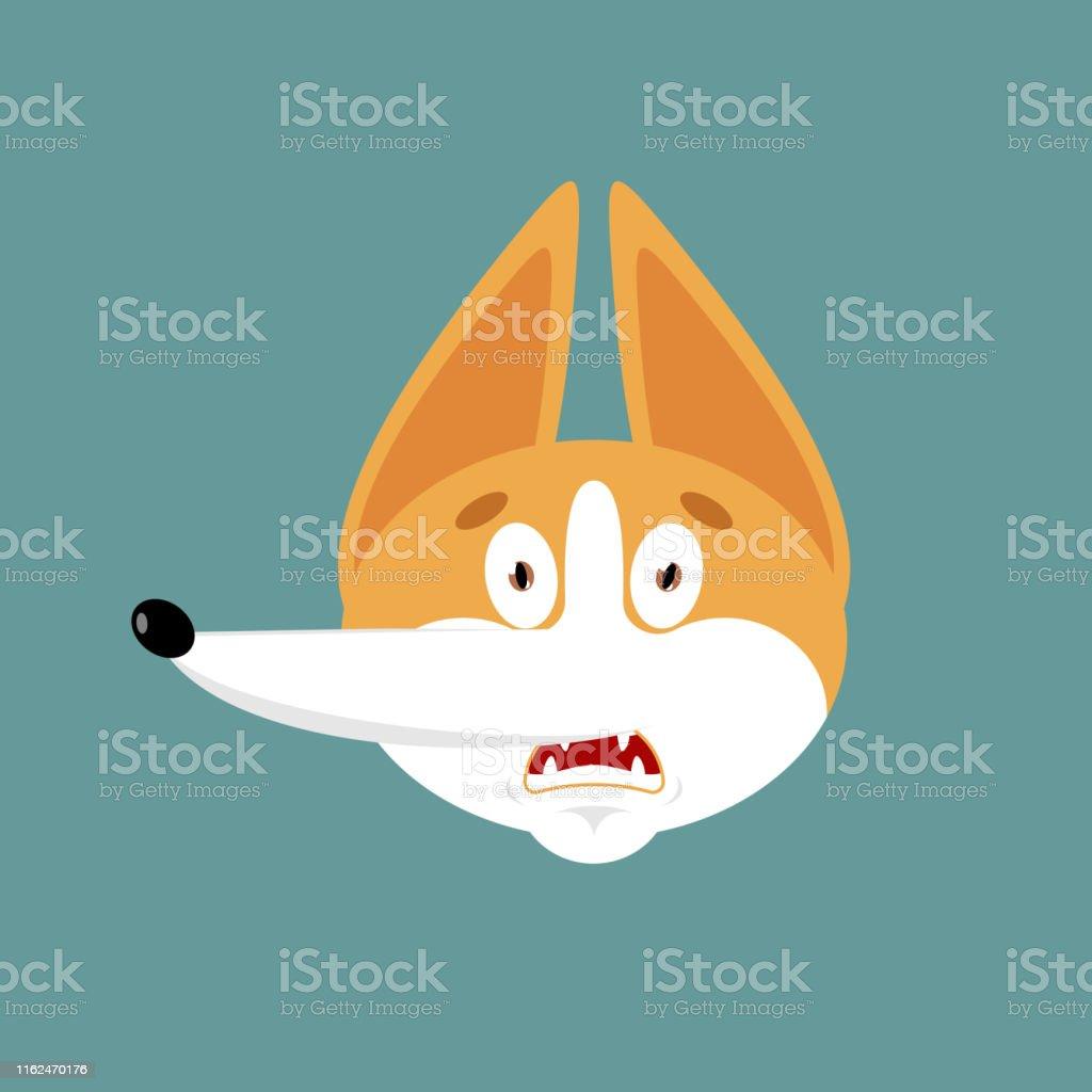 Corgi scared OMG emoji. Dog Oh my God emotions avatar. Pet...
