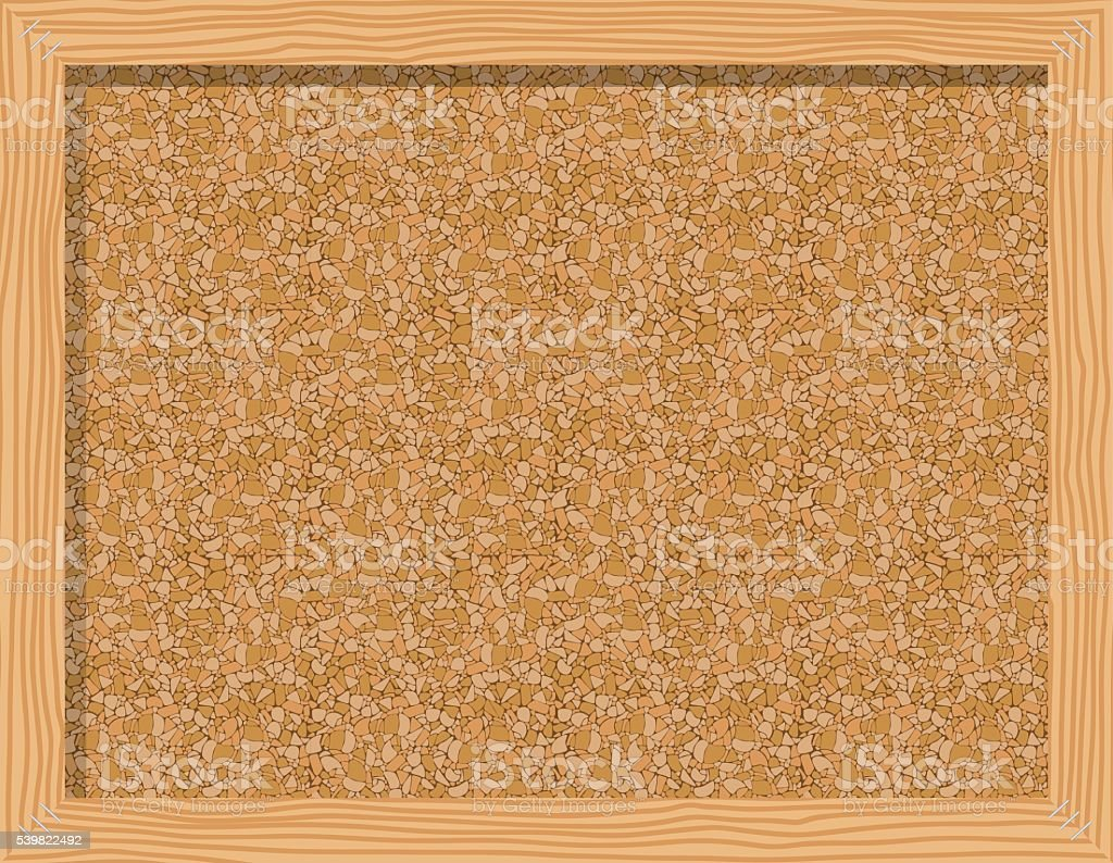 Cork board in a frame isolated over white background vector art illustration