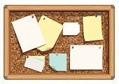 Vector illustration of blank notes, business cards and paper on cork bulletin board.