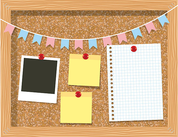 stockillustraties, clipart, cartoons en iconen met cork board with a piece of paper  photo frames - kurk
