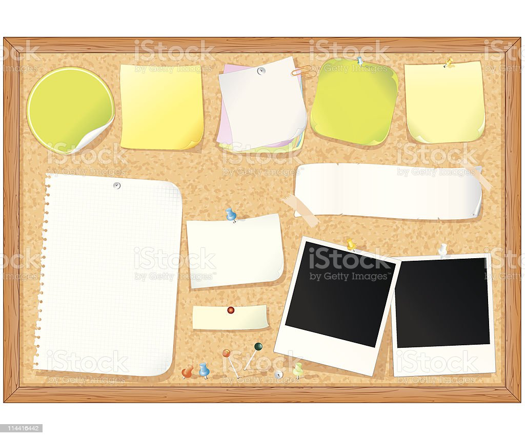 A cork board with blank notes and Polaroids attached vector art illustration
