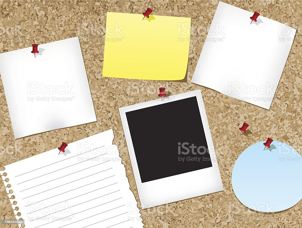 A cork bulletin board of different note paper vector art illustration