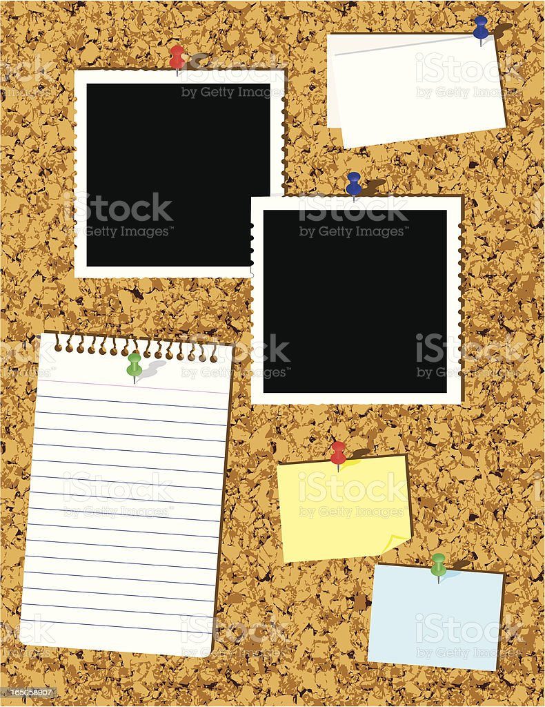 Cork bulletin board with paper tacked to it vector art illustration