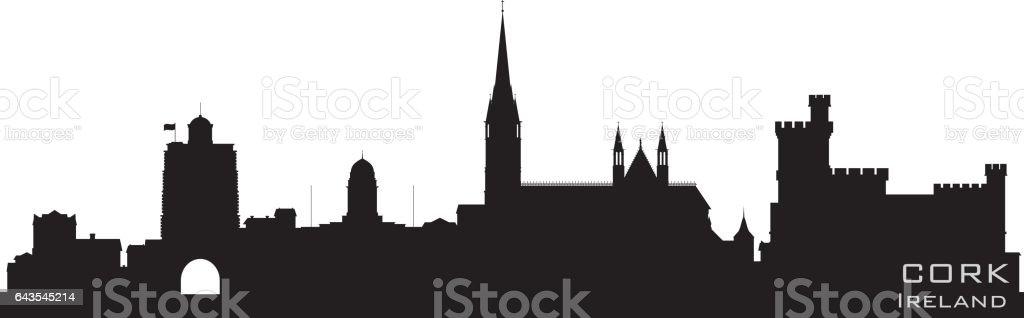 Cork Ireland city skyline silhouette vector art illustration