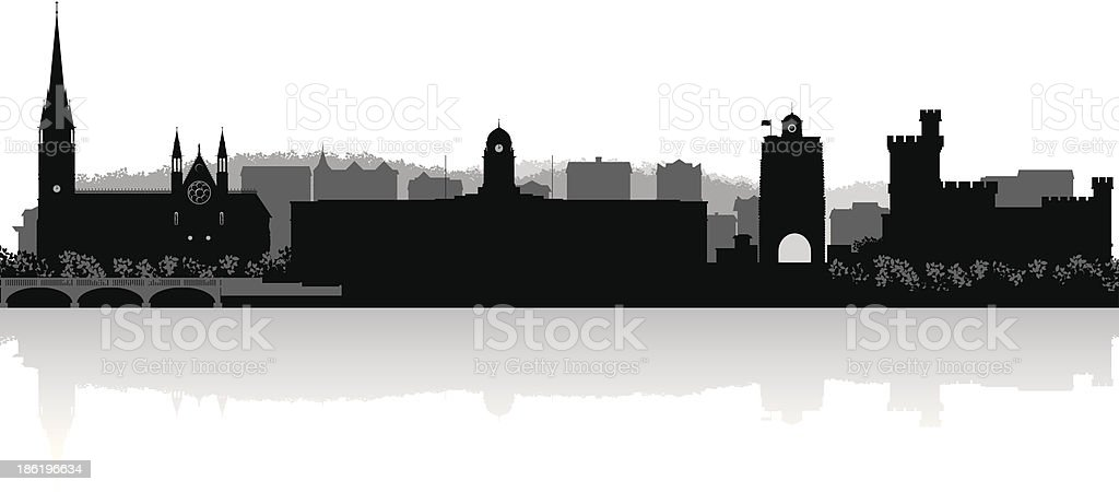 Cork Ireland city skyline vector silhouette vector art illustration