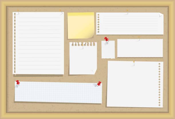 木製フレーム、別注紙、ポストイット、ピンとコルク伝言板です。ベクトルの図。 - メモ点のイラスト素材/クリップアート素材/マンガ素材/アイコン素材