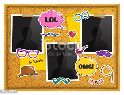 Cork Notice Board With Photo Frames Patches Or Stickers Sticky Notes ...