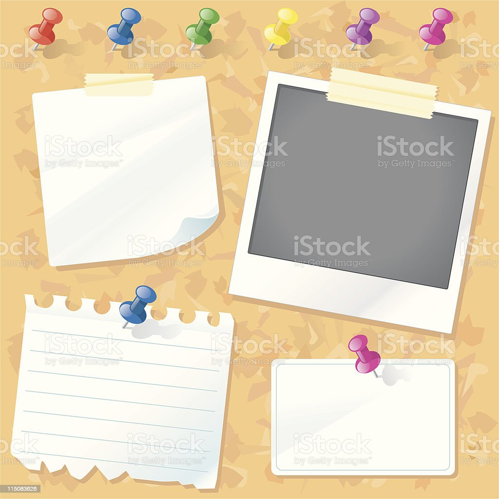 Cork Notice Board with Push-Pins royalty-free stock vector art