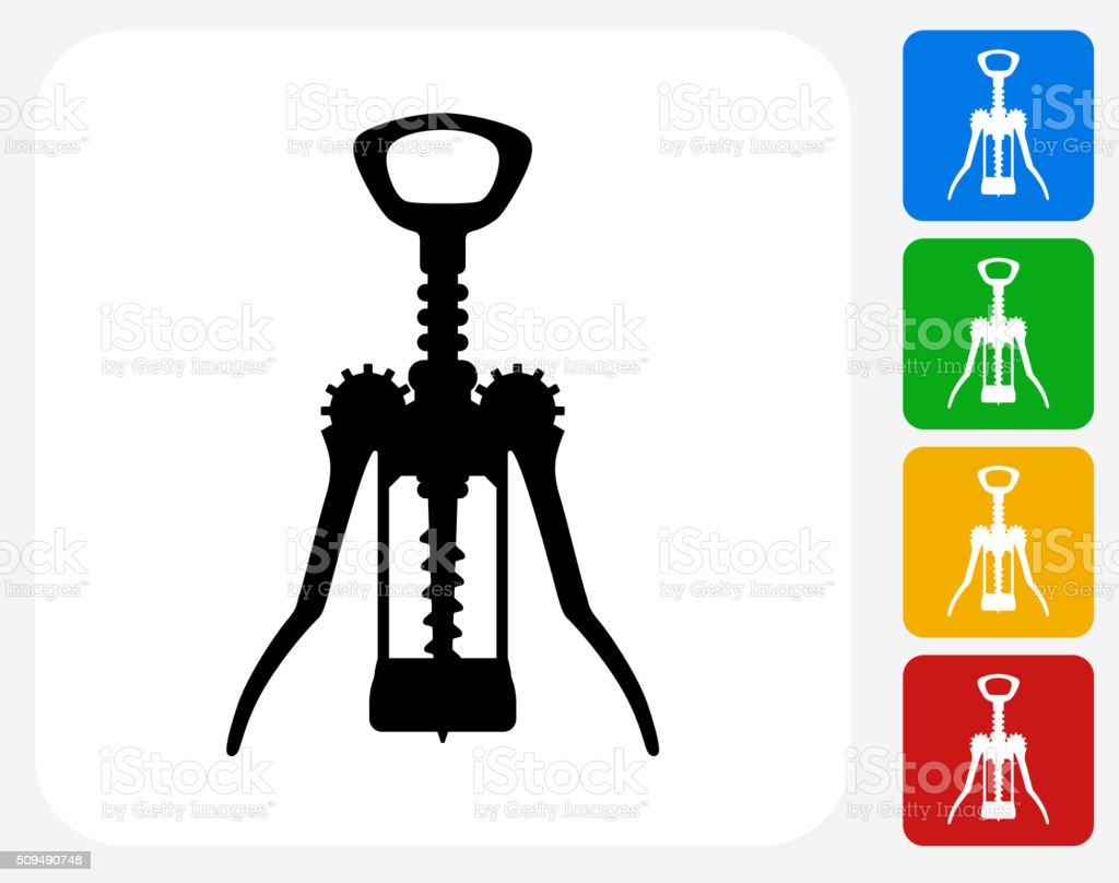 Cork Opener Icon Flat Graphic Design vector art illustration