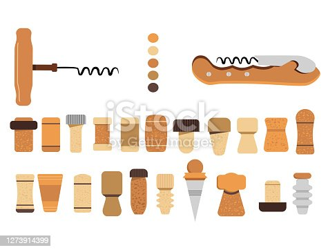 istock Cork stoppers collection. Different types and forms bungs and plugs for alcohol bottles. Tailspin for opening wine. 1273914399