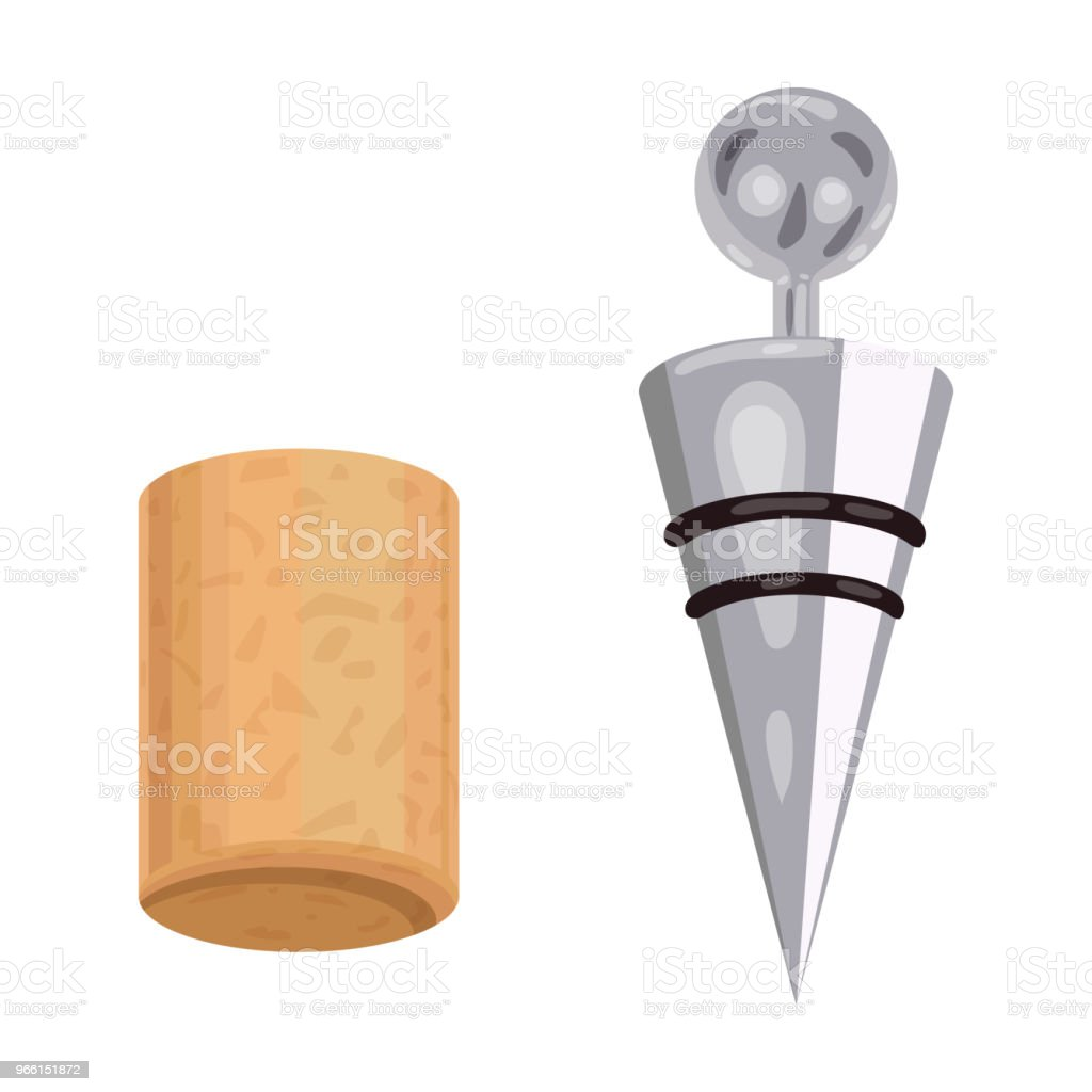 Corkscrew and cork icon in cartoon style isolated on white background. Wine production symbol stock vector illustration. - Royalty-free Aberto arte vetorial