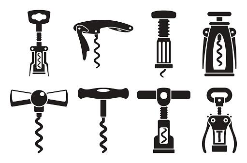 Corkscrew opener icons set. Simple set of corkscrew opener vector icons for web design on white background